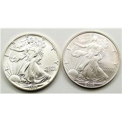 2004 & 1989 AMERICAN SILVER EAGLES