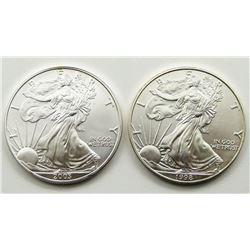 2003 & 1998 AMERICAN SILVER EAGLES