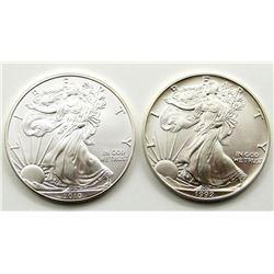 1992 & 2010 AMERICAN SILVER EAGLES