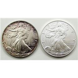 1987 & 2000 AMERICAN SILVER EAGLES