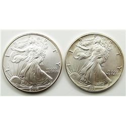 1991 & 2004 AMERICAN SILVER EAGLES