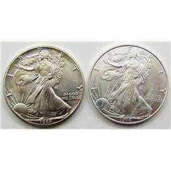 1989 & 1996 AMERICAN SILVER EAGLES