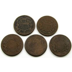 5-TWO CENT PIECES