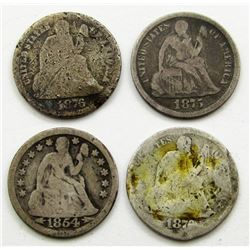 4-SEATED DIMES: 1875, 1876-S, 1876,