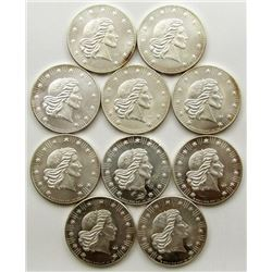 10-WORLD WIDE MIN 1oz .999 SILVER ROUNDS