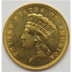 1882 $3 INDIAN PRINCESS GOLD COIN