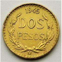 1945 GOLD MEXICAN 2 PESO UNC