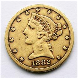 1882-S LIBERTY $5 GOLD HALF EAGLE