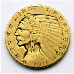 1911-P INDIAN $5 GOLD HALF EAGLE