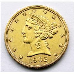 1902 LIBERTY $5 GOLD HALF EAGLE