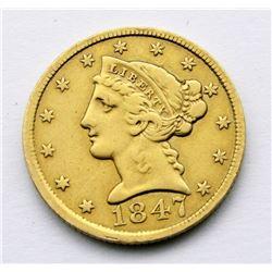 1847 LIBERTY $5 GOLD HALF EAGLE