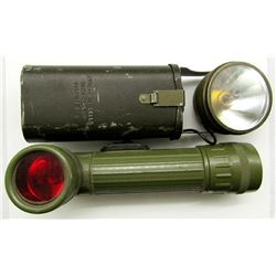 2 VINTAGE MILITARY FLASH LIGHTS! JUSTRITE MFG