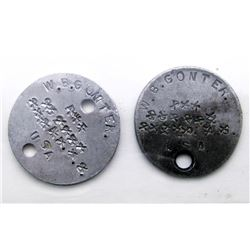 WWI US SOLDIERS DOG TAGS - MATCHING PAIR
