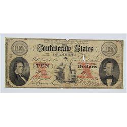 1861 $10 CONFEDERATE STATE of AMERICA