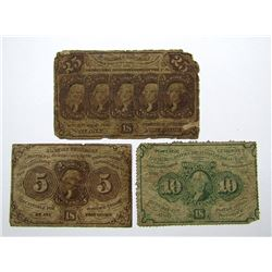 3-1862 POSTAL CURRENCY NOTES