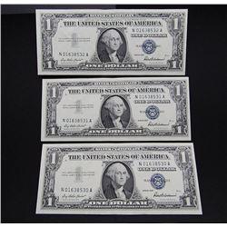 3-CONSECUTIVE $1 SILVER CERTS