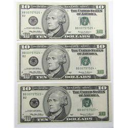 3-$10 CONSECUTIVE STAR NOTES