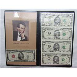 1995 $5 UNCUT SHEET of 4 & $5 RED SEAL