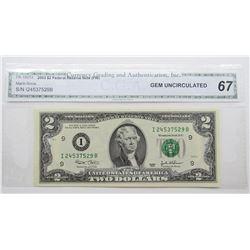 2003 $2 FED RESERVE NOTE CGA 67