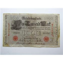 REICHSBANKNOTE 1000 1910 FOREIGN NOTE