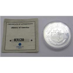 .999 SILVER $20 LIBERIA PROOF 2001