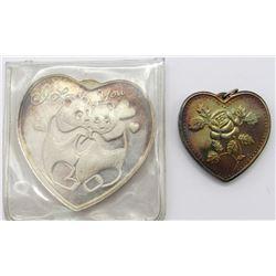2-.999 SILVER HEART PIECES
