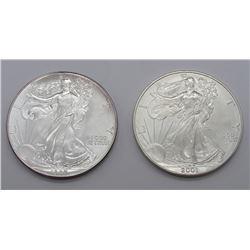1987 & 2001 AMERICAN SILVER EAGLES