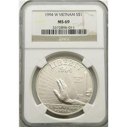 1994-W VIETNAM MEMORIAL SILVER DOLLAR