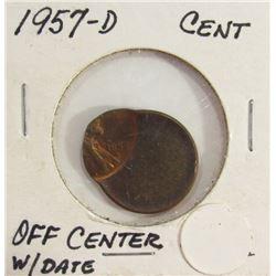 Off Center 1957-D Lincoln Cent Error Coin