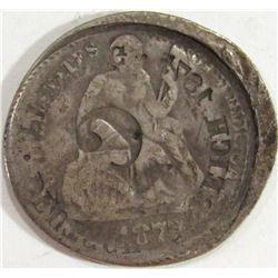 1877 Seated Dime w/ 1875 Sheild Nickel OverStamp
