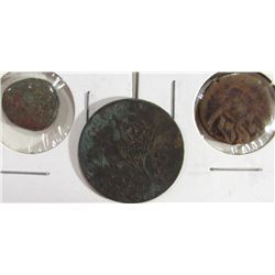 2-Ancient Bronze Coins; unidentified coin