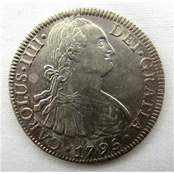 1795 8 REALES COLONIAL SPANISH SILVER COIN
