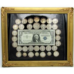 FRAMED SILVER LOT: 1934 -1964 SILVER QTRS