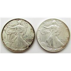 1987 & 2002 AMERICAN SILVER EAGLES