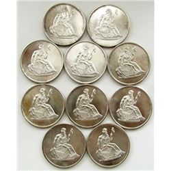 10-SEATED LIBERTY DESIGN 1oz .999 SILVER