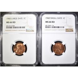 1960 SM & LG DATE LINCOLN CENTS, NGC MS-66 RED