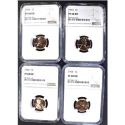 4 LINCOLN CENTS NGC PF-68 RED