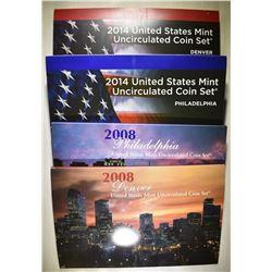 2008 & 14 U.S. MINT UNC SETS