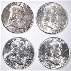 3-1953 & 1-62 CH BU FRANKLIN HALF DOLLARS