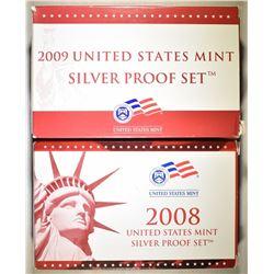2008 & 2009 US MINT SILVER PROOF SETS