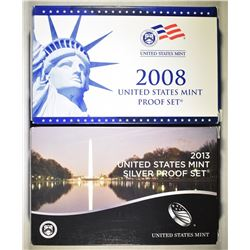 2008 US PROOF SET & 2013 US SILVER PROOF SET