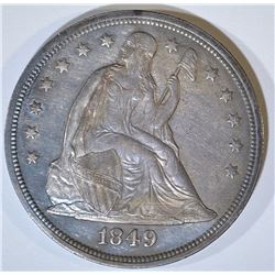 1849 SEATED LIBERTY DOLLAR  UNC   OLD CLEANING