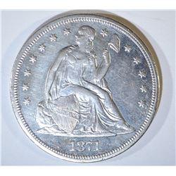 1871-CC SEATED LIBERTY DOLLAR  AU/UNC