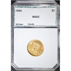 1854 $3 GOLD INDIAN PRINCESS  PCI CH BU