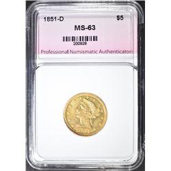 1851-D $5 GOLD LIBERTY HEAD  PNA CH BU