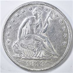 1853 ARROWS & RAYS SEATED HALF DOLLAR  AU+