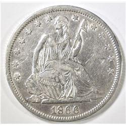 1866-S SEATED HALF DOLLAR XF