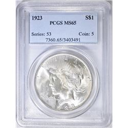 1923 PEACE DOLLAR, PCGS MS-65