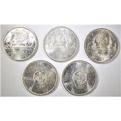 1963, 2-64, 65 & 66 BU CANADIAN SILVER DOLLARS
