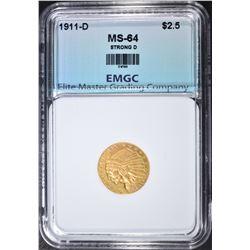 1911-D STRONG D $2.50 GOLD INDIAN, EMGC CH/GEM BU